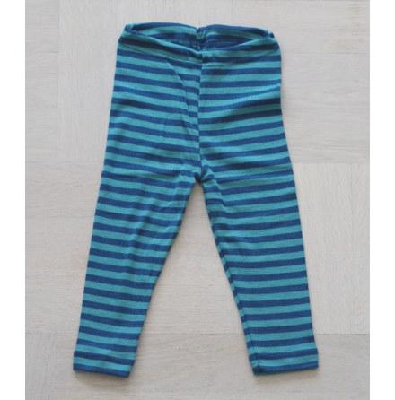 Engel leggings i ull/silke, turkos/blå