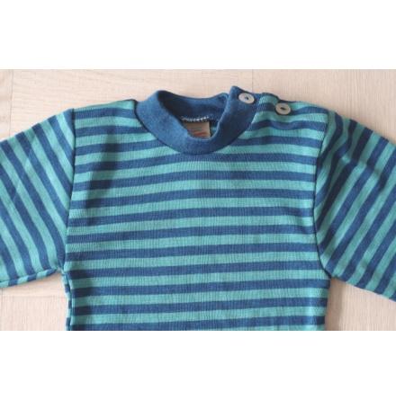 Engel tröja med axelknappar i ull/silke, turkos/blå