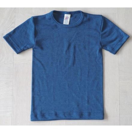 Engel t-shirt i ull/silke, blå