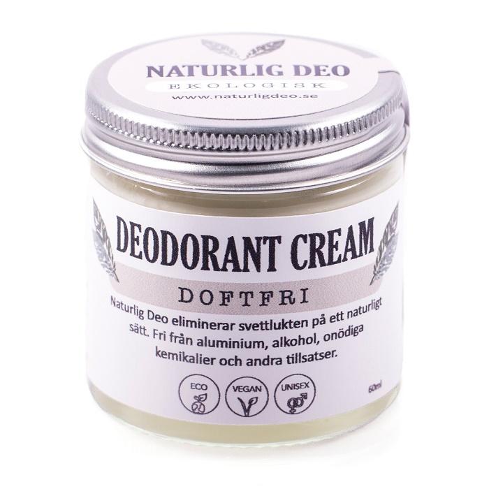 Naturlig deo, Ekologisk Deodorant Cream Doftfri, 60 ml