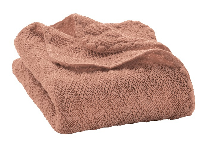 Disana knitted woollen baby blanket rose