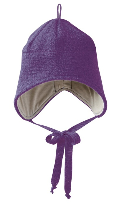 Disana boiled wool hat plum