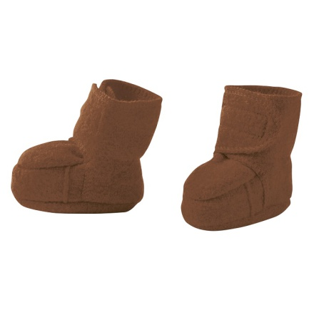 Disana boiled wool booties hazelnut
