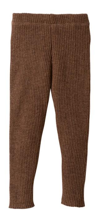 Disana stickade leggings i ekologisk merinoull, brun