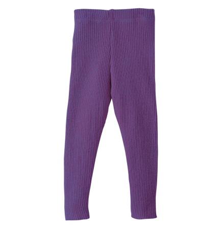 Disana stickade leggings i ekologisk merinoull, lila