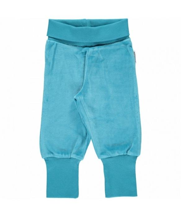 Maxomorra Pants Rib Velour Blue