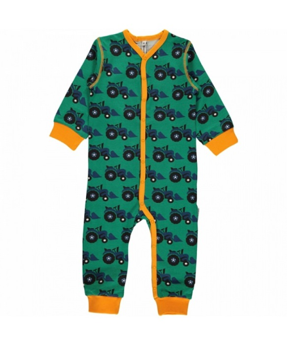 Maxomorra Rompersuit Button LS Tractor