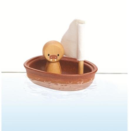 PlanToys segelbåt i trä med valross