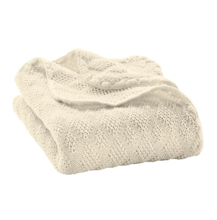 Disana knitted woollen baby blanket natural