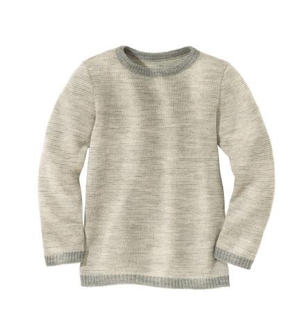 Disana stickad pullover i ekologisk merinoull, grå/natur