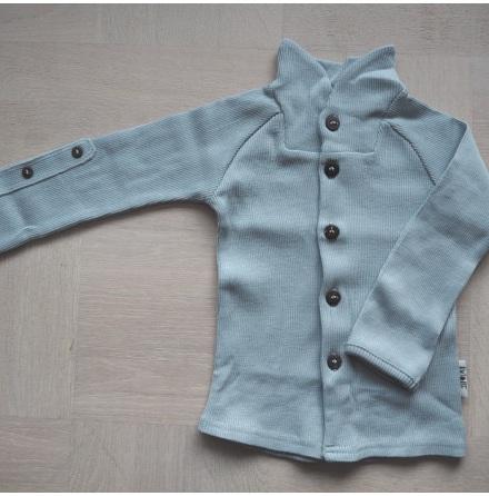 Manymonths cardigan i merinoull m krage & justerbara ärmar, silvergrå