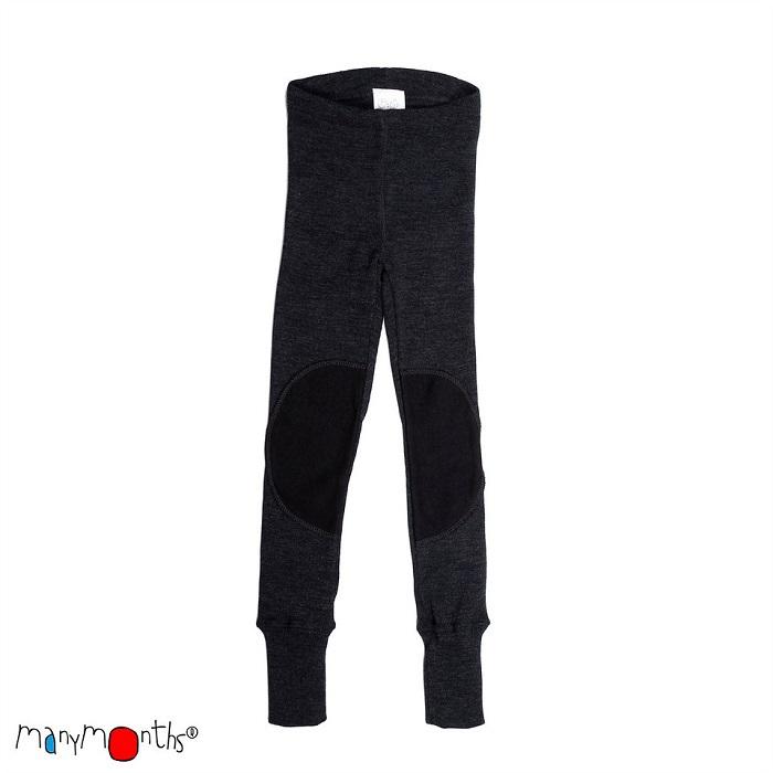 Manymonths leggings i naturlig merinoull m knälappar, mörkgrå