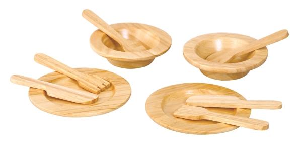 PlanToys matservice i trä
