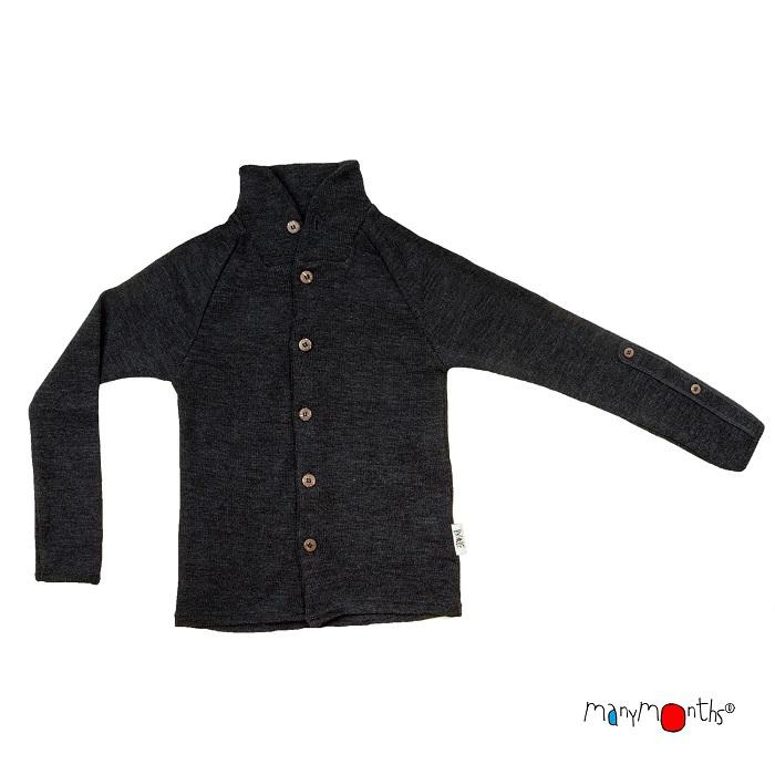 Manymonths cardigan i merinoull m krage & justerbara ärmar, mörkgrå