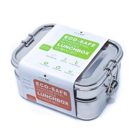 Ecozoi - Stor Läckagesäker Matlåda Rostfritt Stål - Bento 3 i 1