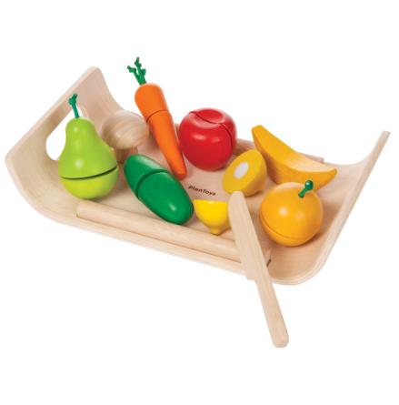 PlanToys frukt och grönsaker i trä