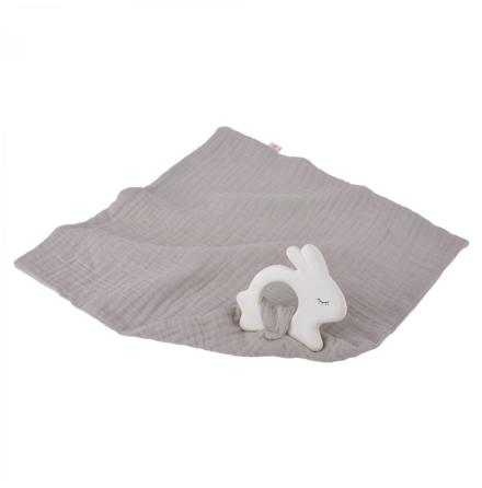 Kikadu Rubber Rabbit with Towel Silver Grey