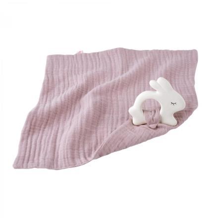 Kikadu Rubber Rabbit with Towel Pale Rose