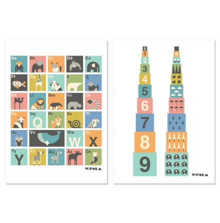 W:FORM POSTERS ABC + Numbers Multicolor 30×40 cm