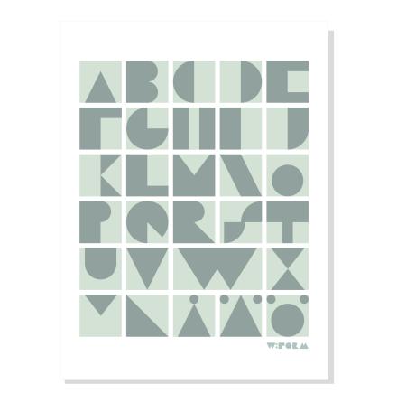W:FORM Poster ABC Blocks Dusty Mint
