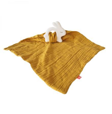 Kikadu Rubber Rabbit with Towel Mustard Grey