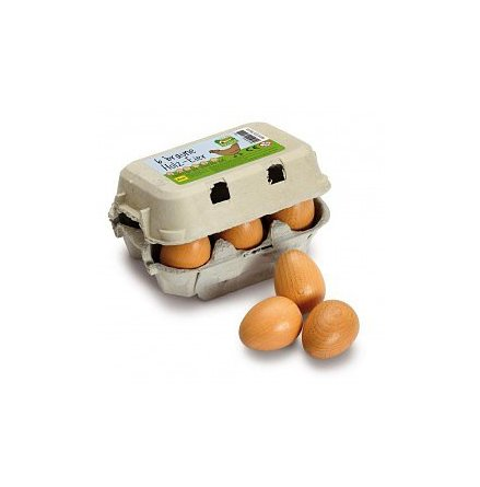 Erzi bruna ägg i trä, 6-pack