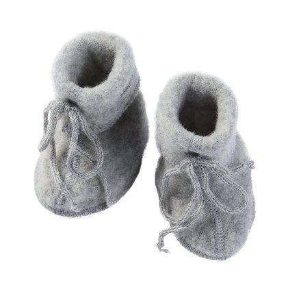 Engel bebistossor i ullfleece, Light Grey Melange