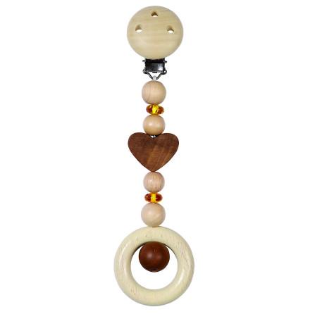 Heimess nature clips-leksak hjärta med bärnsten