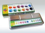 ökoNORM vattenfärger, 12 färger (i plåtask)
