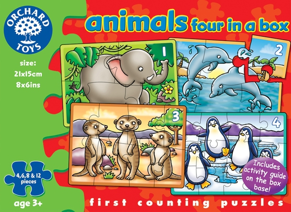 Orchard Toys pussel, four in a box, animals