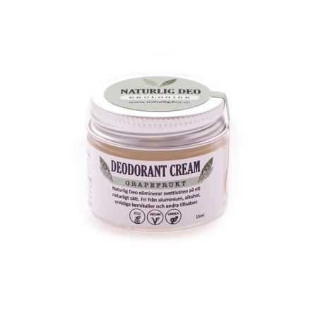 Naturlig deo, Ekologisk Deodorant Cream Grapefrukt, 15 ml