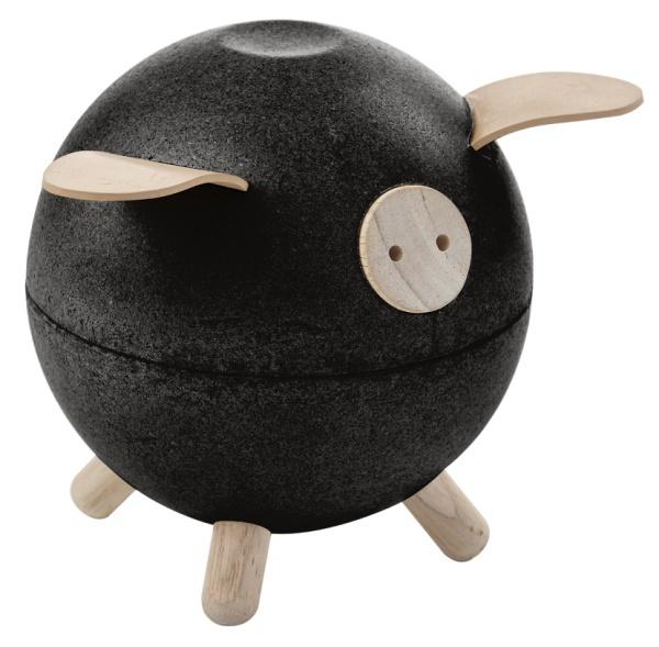 PlanToys Spargris i trä, svart